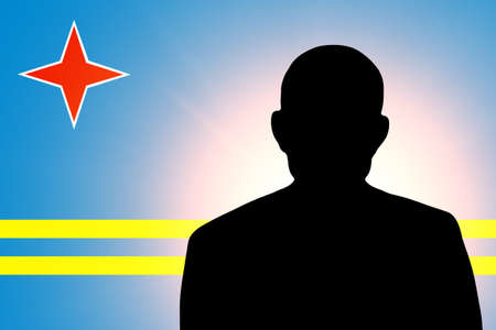 unnamed: The Aruba Flag and the silhouette of an unknown man Stock Photo