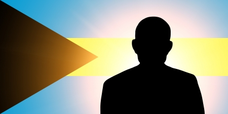 unnamed: The Bahamas flag and the silhouette of an unknown man