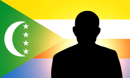 unnamed: The Comoros flag and the silhouette of an unknown man