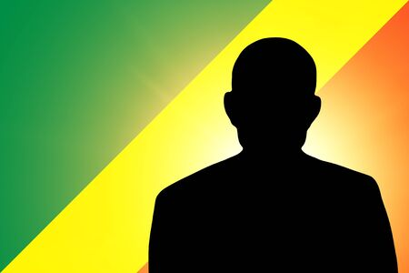 The Congo flag and the silhouette of an unknown man Stock Photo - 15943497