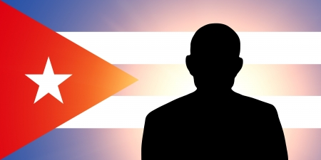 The Cuban flag and the silhouette of an unknown man Stock Photo - 15943409