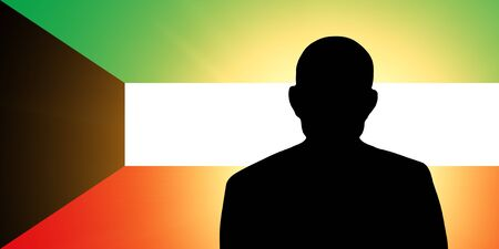 unnamed: The Kuwaiti flag and the silhouette of an unknown man Stock Photo