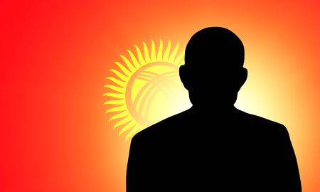 pretender: The Kyrgyz Flag and the silhouette of an unknown man