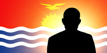 unnamed: The Kiribati flag and the silhouette of an unknown man