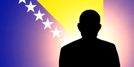 unnamed: The Bosnia and Herzegovina flag and the silhouette of an unknown man Stock Photo