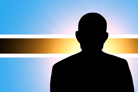 unnamed: The Botswana flag and the silhouette of an unknown man Stock Photo