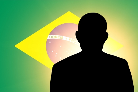 unnamed: The Brazilian flag and the silhouette of an unknown man