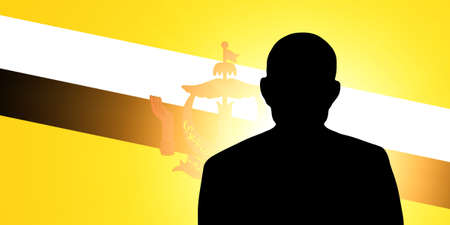 The Brunei Flag and the silhouette of an unknown man Stock Photo - 15943335