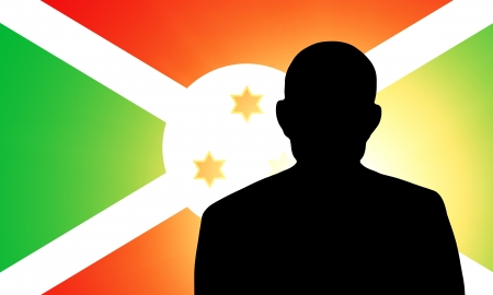 pretender: The Burundi flag and the silhouette of an unknown man Stock Photo