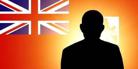 The Bermuda Islands flag and the silhouette of an unknown man Stock Photo - 15943417