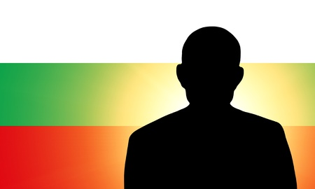 unnamed: The Bulgarian flag and the silhouette of an unknown man Stock Photo