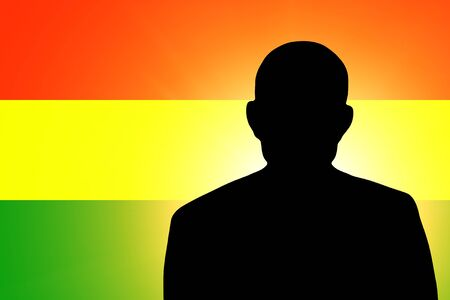 unnamed: The Bolivian flag and the silhouette of an unknown man