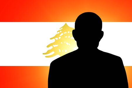 lebanese: The Lebanese flag and the silhouette of an unknown man Stock Photo