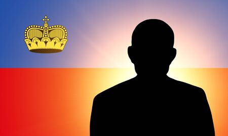 unnamed: The Liechtenstein flag and the silhouette of an unknown man