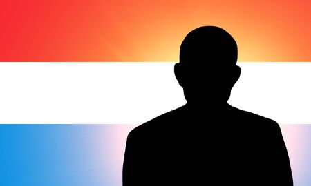 pretender: The Luxembourg flag and the silhouette of an unknown man