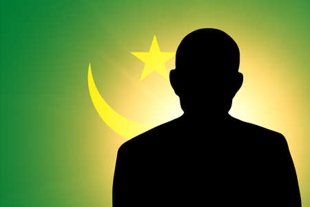 unnamed: The Mauritius flag and the silhouette of an unknown man