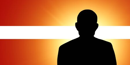 unnamed: The Latvian flag and the silhouette of an unknown man