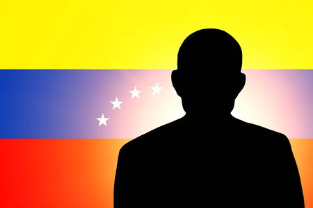 venezuelan flag: The Venezuelan flag and the silhouette of an unknown man