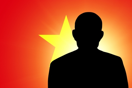 unnamed: The Vietnamese flag and the silhouette of an unknown man