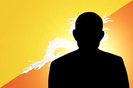 unnamed: The Bhutanese flag and the silhouette of an unknown man Stock Photo