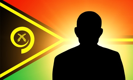 pretender: The Vanuatu flag and the silhouette of an unknown man