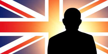 unnamed: The British flag and the silhouette of an unknown man