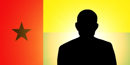unnamed: The Guinea-Bissau Flag and the silhouette of an unknown man