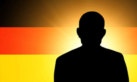 pretender: The German flag and the silhouette of an unknown man Stock Photo