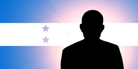 The Honduran flag and the silhouette of an unknown man Stock Photo - 15943337