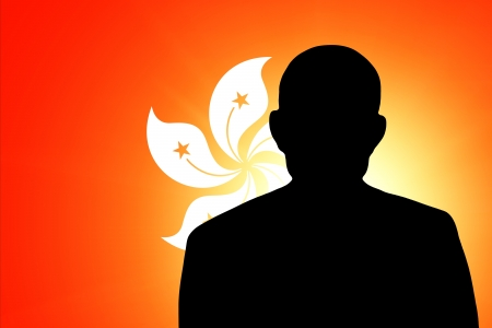 unnamed: The Hong Kong flag and the silhouette of an unknown man Stock Photo
