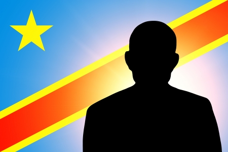 The Democratic Republic of the Congo flag and the silhouette of an unknown man Stock Photo - 15943502
