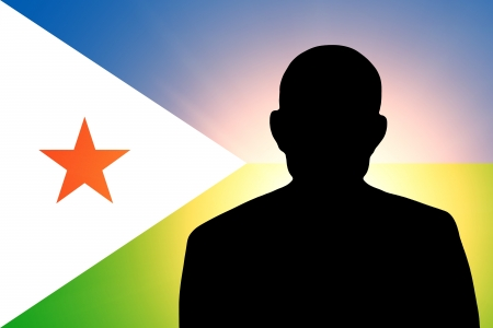unnamed: The Djibouti flag and the silhouette of an unknown man Stock Photo