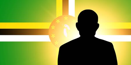 pretender: The Dominica flag and the silhouette of an unknown man