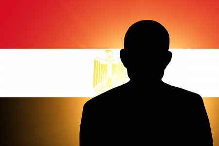 unnamed: The Egyptian flag and the silhouette of an unknown man