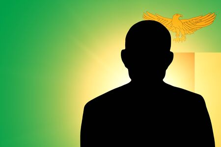 zambian: The Zambian flag and the silhouette of an unknown man