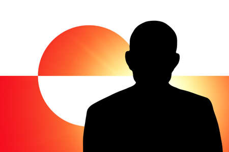The Greenland flag and the silhouette of an unknown man photo
