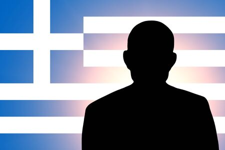 unnamed: The Greek flag and the silhouette of an unknown man