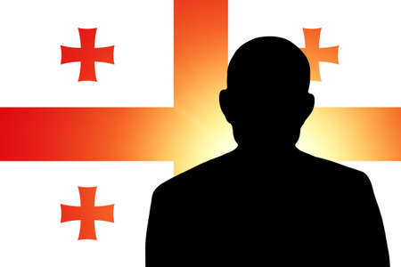 unnamed: The Georgian flag and the silhouette of an unknown man
