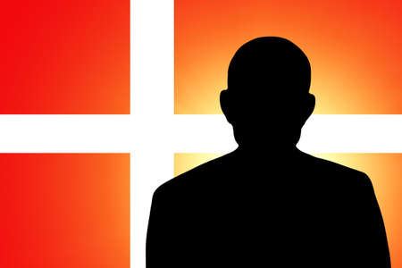 unnamed: The Danish flag and the silhouette of an unknown man
