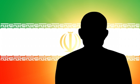 unnamed: The Iranian flag and the silhouette of an unknown man