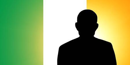 irish pride: The irish flag and the silhouette of an unknown man Stock Photo