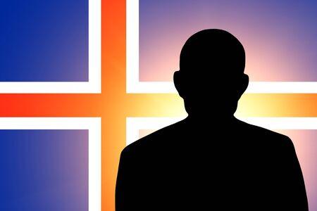 icelandic flag: La bandera de Islandia y la silueta de un hombre desconocido