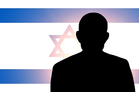 The Israeli flag and the silhouette of an unknown man Stock Photo - 15943348