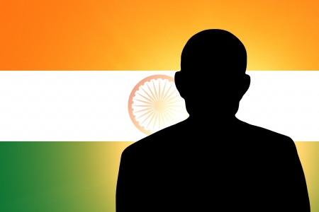 The Indian flag and the silhouette of an unknown man Stock Photo - 15943437