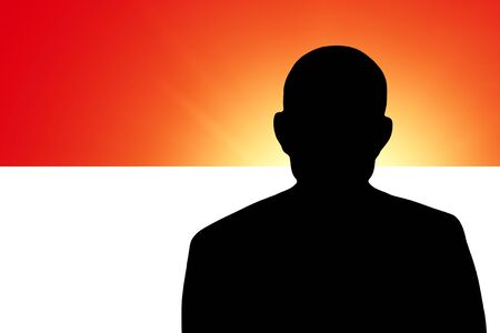 The Indonesian flag and the silhouette of an unknown man Stock Photo - 15943393