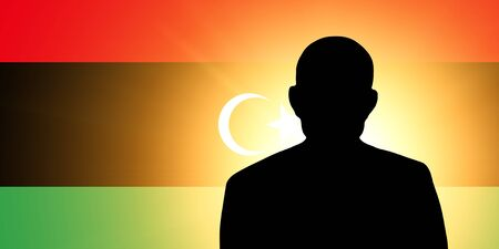 The Libyan flag and the silhouette of an unknown man and the silhouette of an unknown man photo