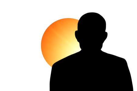 The Japan flag and the silhouette of an unknown man Stock Photo - 15943332
