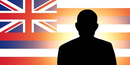 The Hawaii flag and the silhouette of an unknown man and the silhouette of an unknown man Stock Photo - 15943377