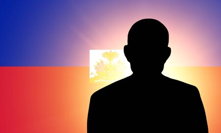 unnamed: The Haiti flag and the silhouette of an unknown man and the silhouette of an unknown man