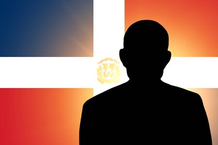 The Dominican Republic flag and the silhouette of an unknown man and the silhouette of an unknown man Stock Photo - 15943380